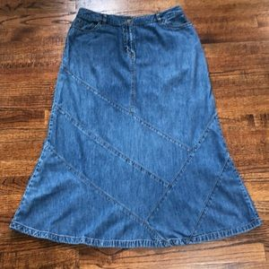 Style & Co Jean Skirt Midi Patchwork Western Sz 10